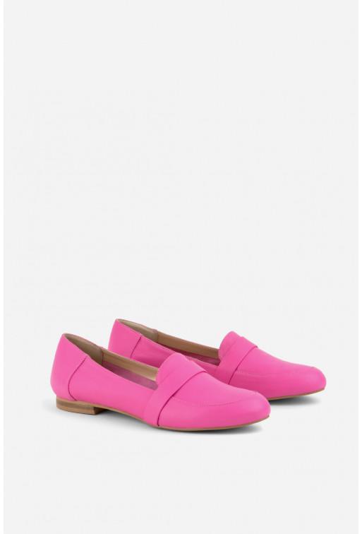 Лофери рожеві шкіряні /без підкладу - м'які/
