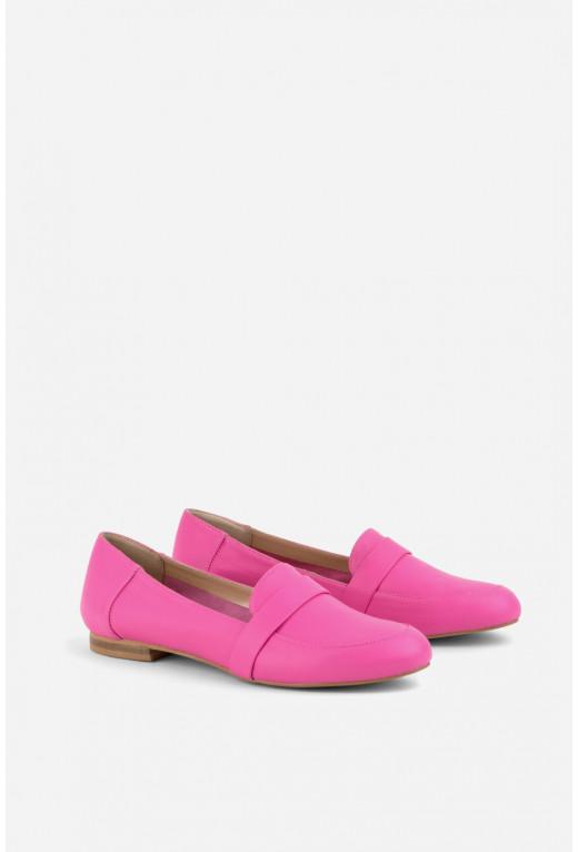 Лофери ультра-рожеві шкіряні  /без підкладу - м'які/