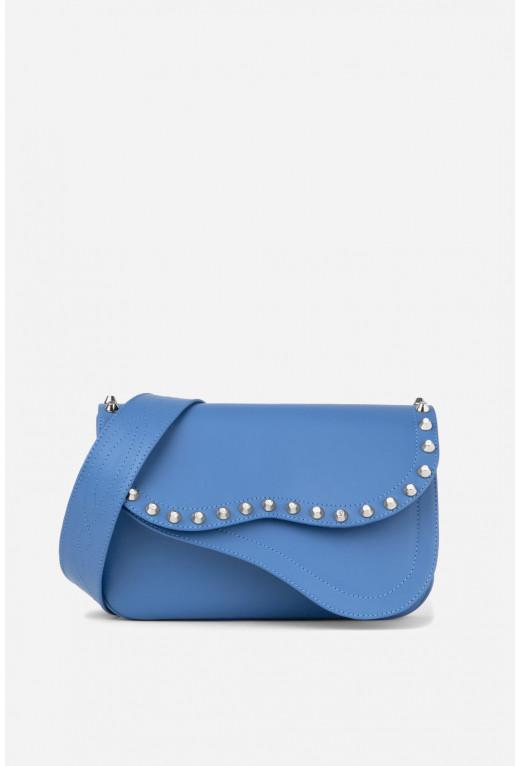 Кросбаді Saddle bag Studs A  з блакитної гладкої шкіри /срібло/