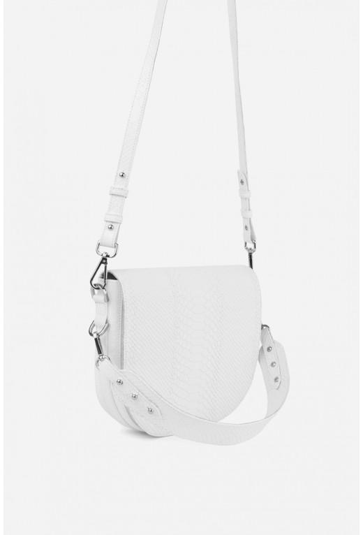 Кросбаді Saddle bag 1  з білої тисненої шкіри /срібло/
