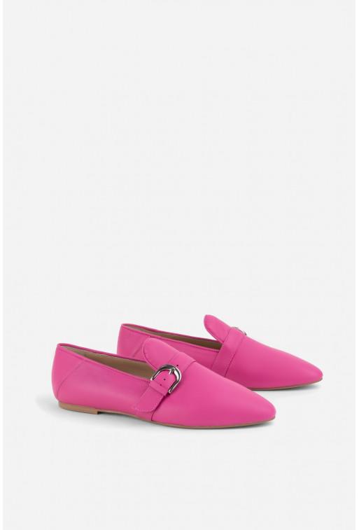 Лофери з пряжкою  яскраво-рожеві шкіряні