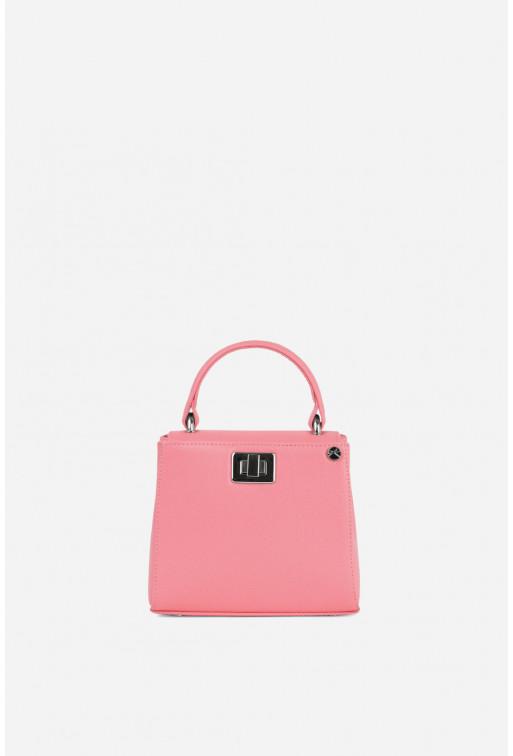 Портфель ERNA MICRO рожева з фактурної шкіри /срібло/
