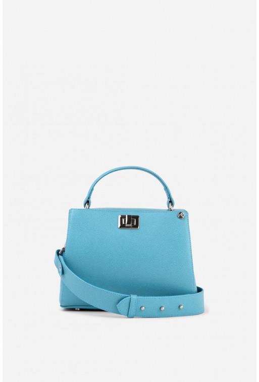 Портфель ERNA MINI  з світло-блакитної фактурної шкіри /срібло/