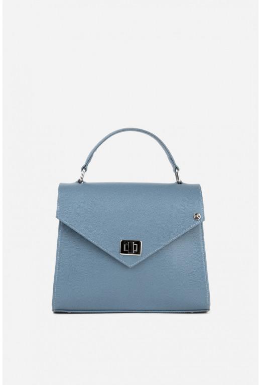 Портфель MITTE GRANDE MINI з блакитної фактурної шкіри /срібло/