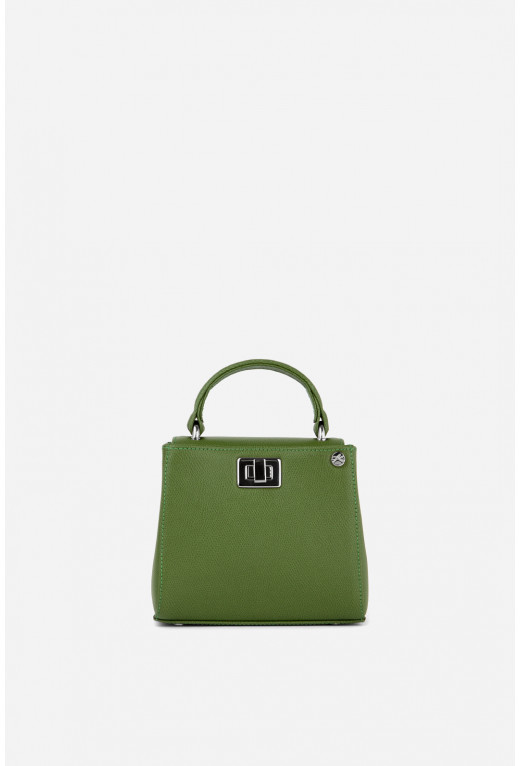 Портфель ERNA MICRO з зеленої фактурної шкіри /срібло/