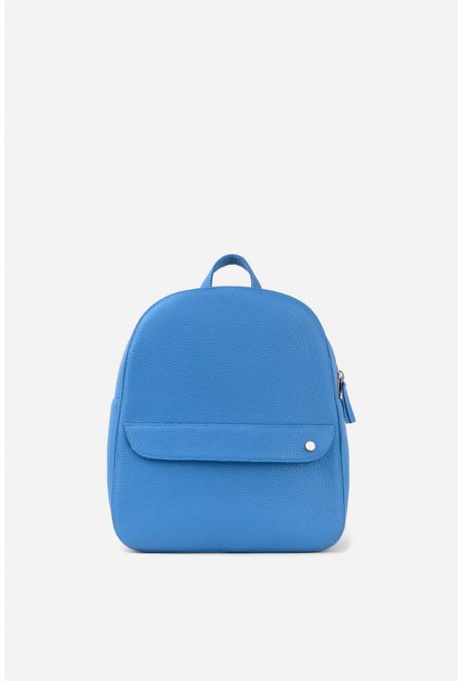 Рюкзак  з темно-блакитної шкіри флотар /срібло/