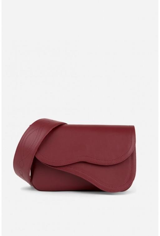 Кросбаді Saddle bag 2A з бордової гладкої шкіри /срібло/