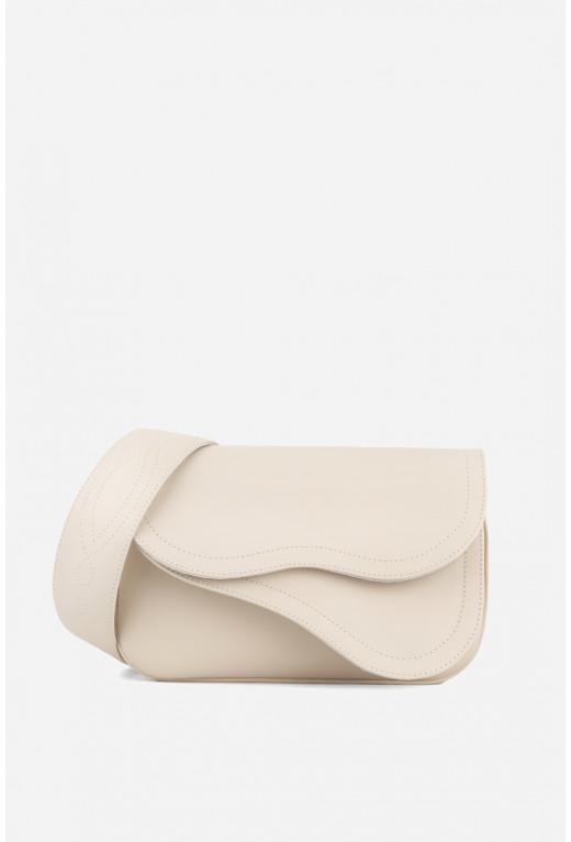 Кросбаді Saddle bag 2A  з нюдової гладкої шкіри /срібло/