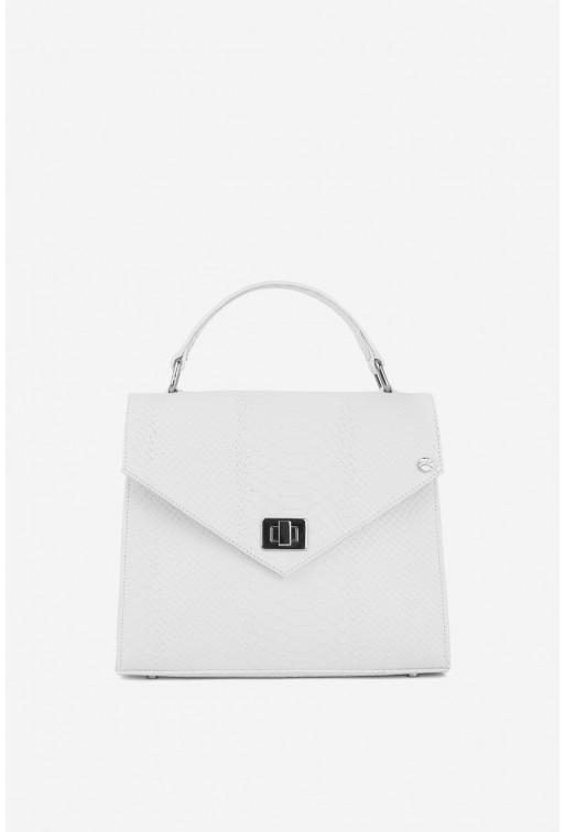 Портфель MITTE GRANDE MINI  з білої тисненої шкіри /срібло/