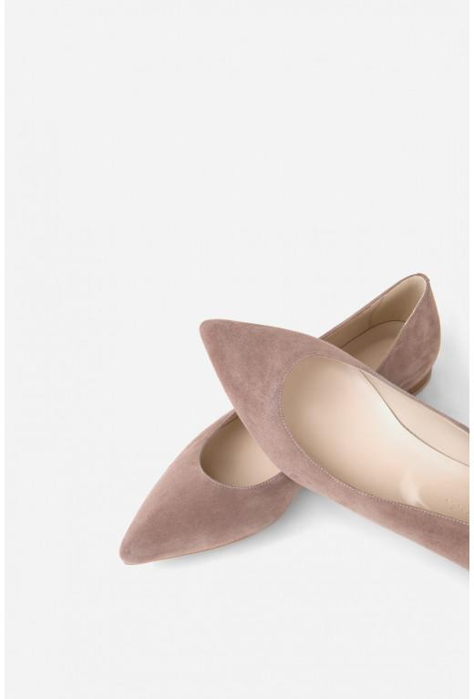 Балетки попелясто-рожеві  замшеві гостроносі
