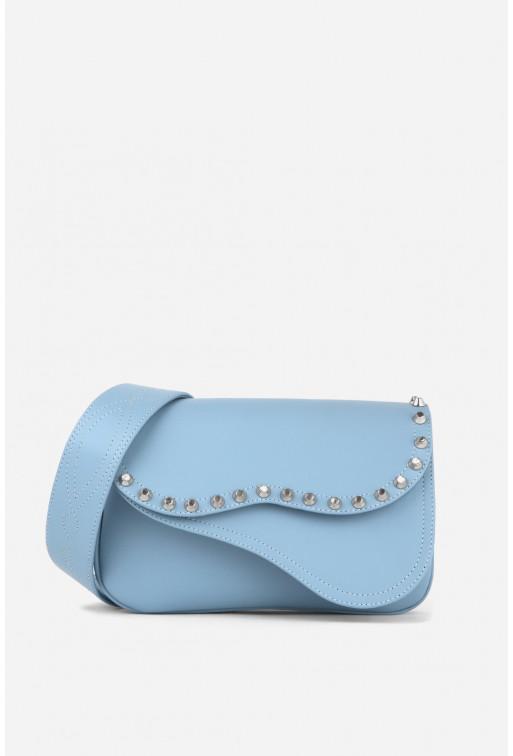 Кросбаді Saddle bag Studs з світло-блакитної гладкої шкіри /срібло/