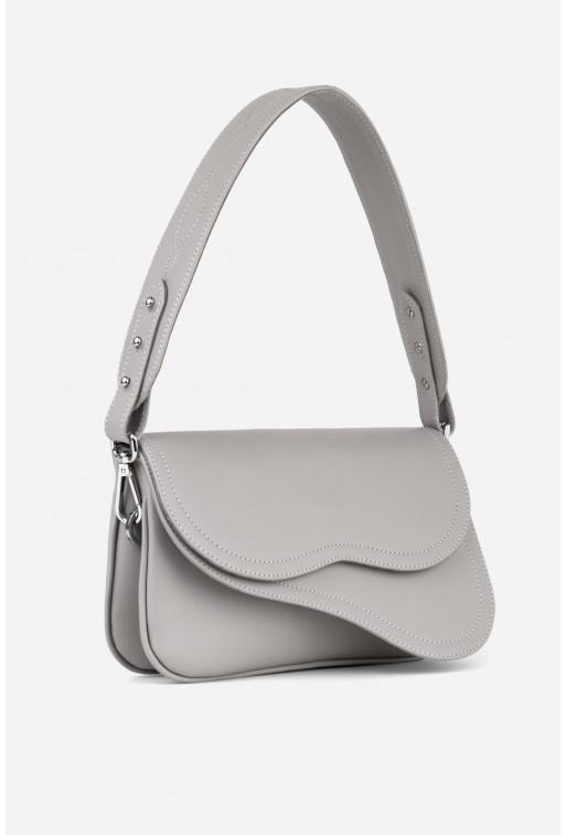 Кросбаді Saddle bag 2A  з cірої гладкої шкіри /срібло/