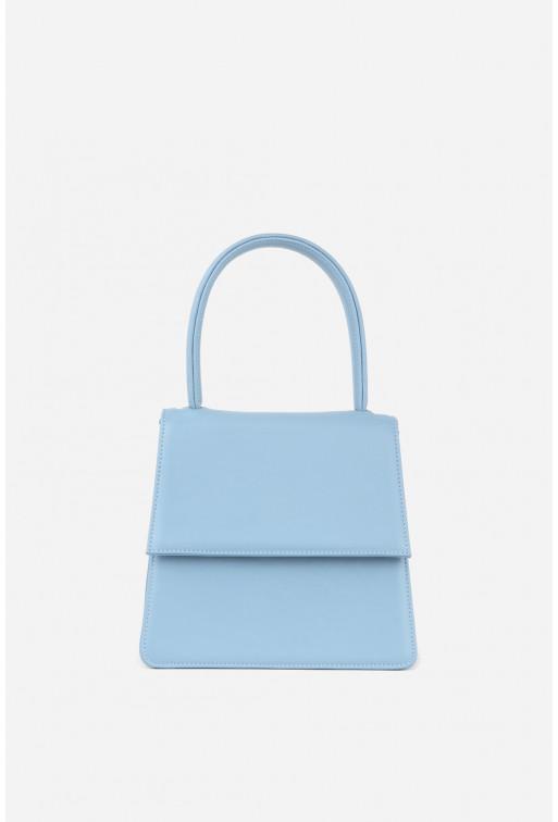 Портфель Linda micro  з блакитної гладкої шкіри /срібло/