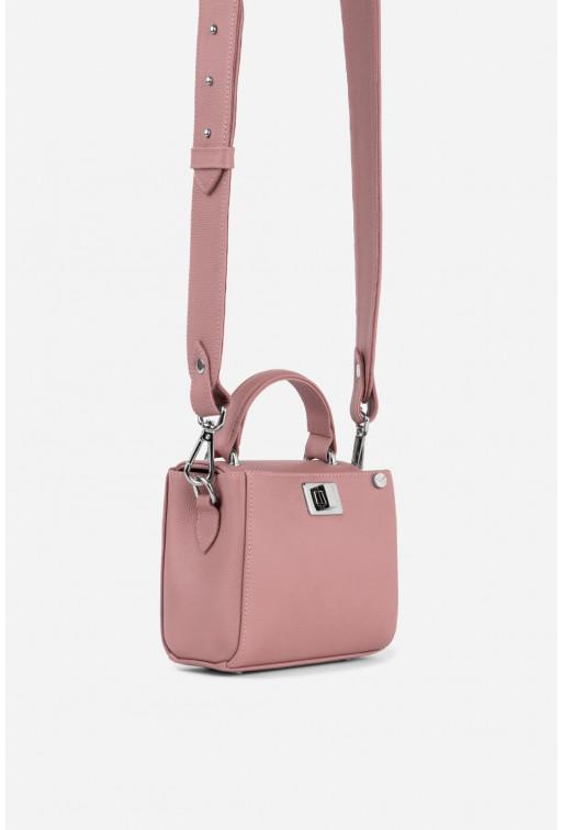 Портфель ERNA MICRO з фактурної рожевої шкіри /срібло/