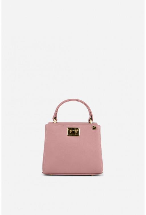 Портфель ERNA MICRO з рожевої фактурної шкіри /золото/
