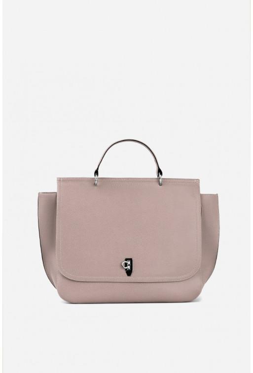Портфель LORY XL  з сіро-рожевої фактурної шкіри /срібло/