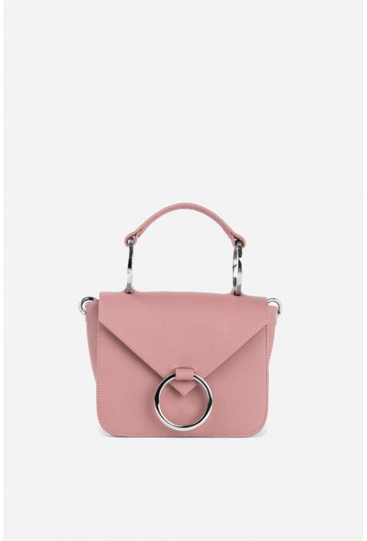 Кросбаді OLIVIA  з рожевої фактурної шкіри /срібло/