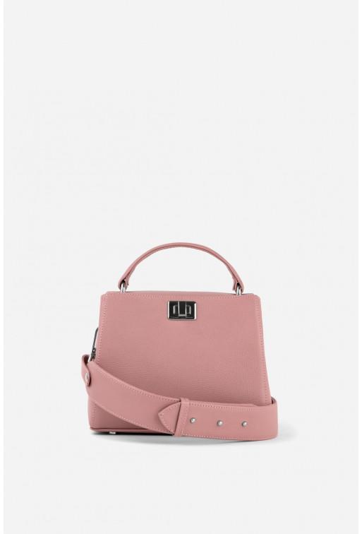 Портфель ERNA MINI  з рожевої фактурної шкіри /срібло/