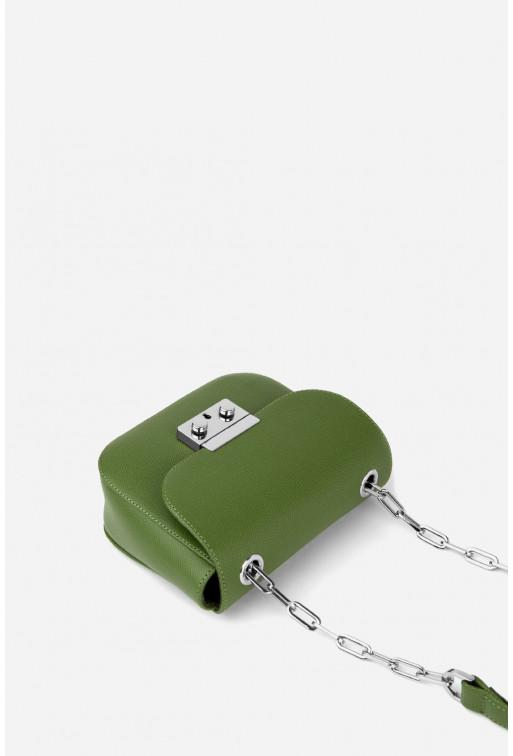 Кросбаді LILU NC  з зеленої фактурної шкіри /срібло/