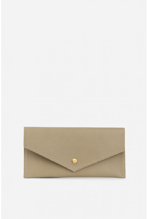 Гаманець конверт  з бежево-зеленої фактурної шкіри /бронза/