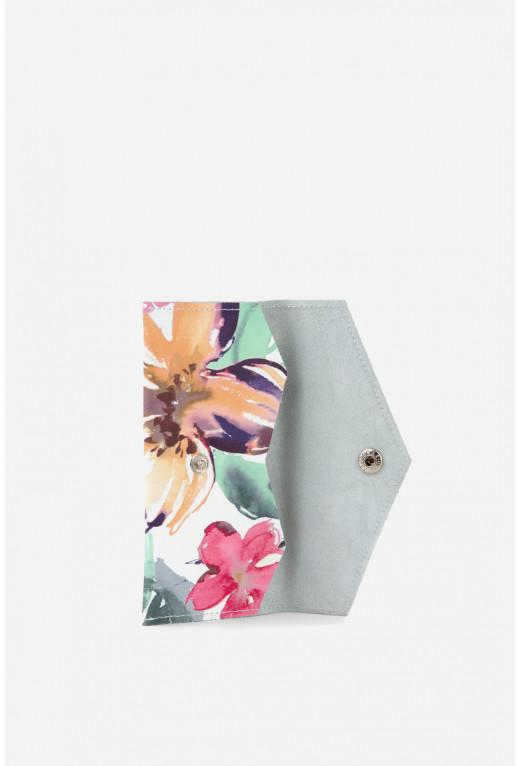 Гаманець  з весняними квітами шкіряний /срібло/