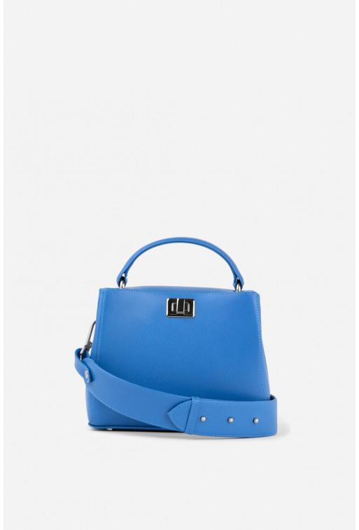 Портфель ERNA MINI  з блакитної фактурної шкіри /срібло/