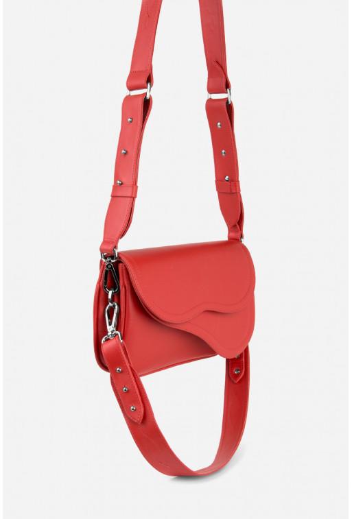 Кросбаді Saddle bag 2A  з червоної гладкої шкіри /срібло/
