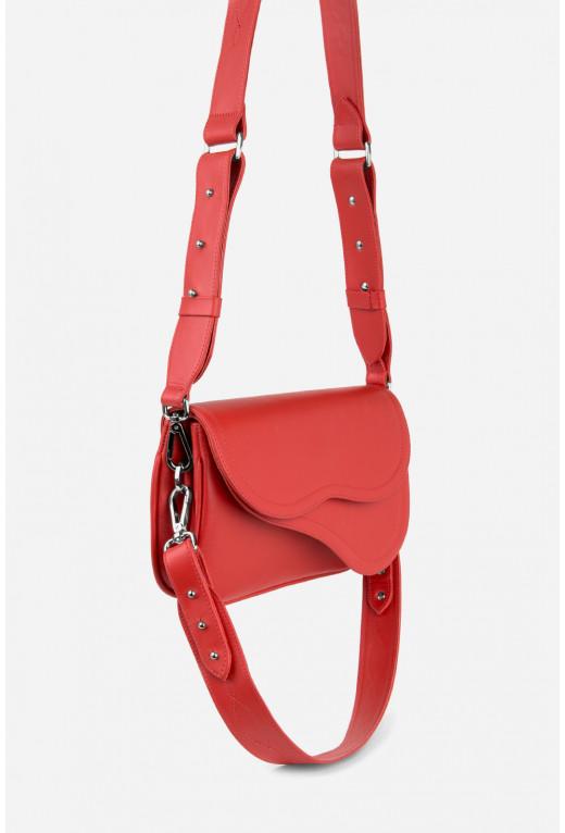 Кросбоді SADDLE BAG 2 з червоної гладкої шкіри /срібло/