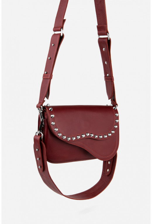 Кросбаді Saddle bag Studs  з бордової гладкої шкіри /срібло/