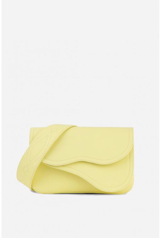 Кросбаді Saddle bag 2A  з лимонної гладкої шкіри /срібло/