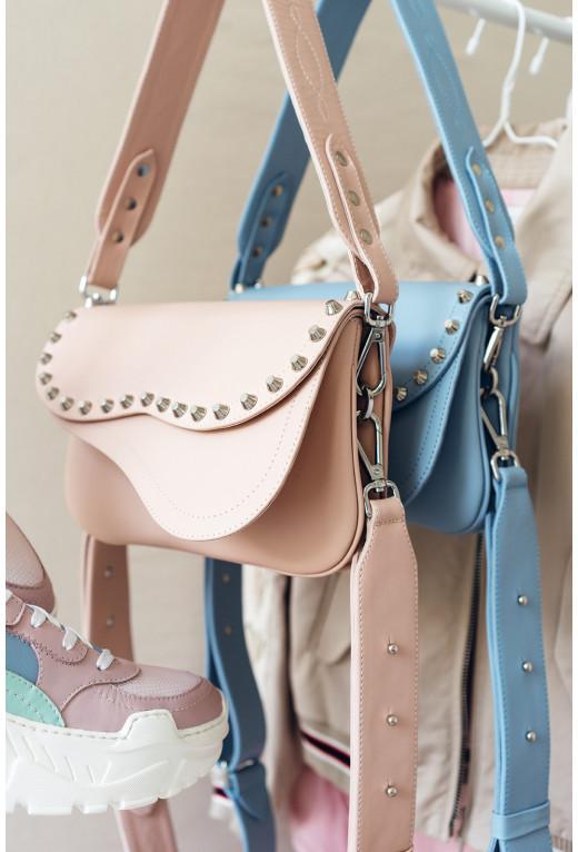 Кросбаді Saddle bag Studs A  з рожевої гладкої шкіри /срібло/