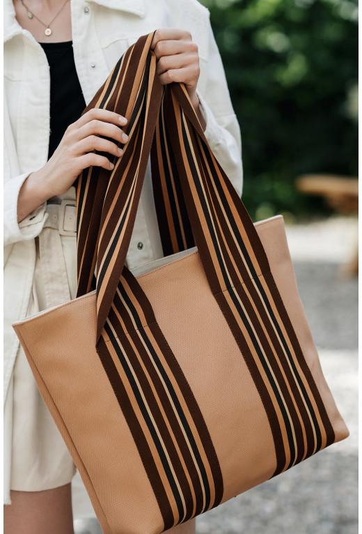 Шопер Striped bag  з бежевої тканини у смужку