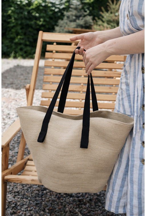 Шопер STRAW BAG M NEW  пісочного кольору з мішковини
