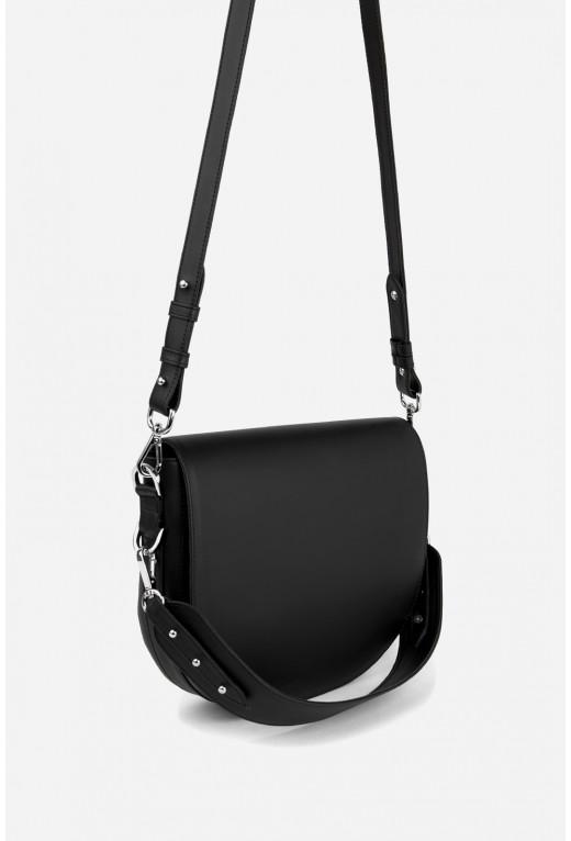 Кросбаді Saddle bag 1  з чорної гладкої шкіри /срібло/
