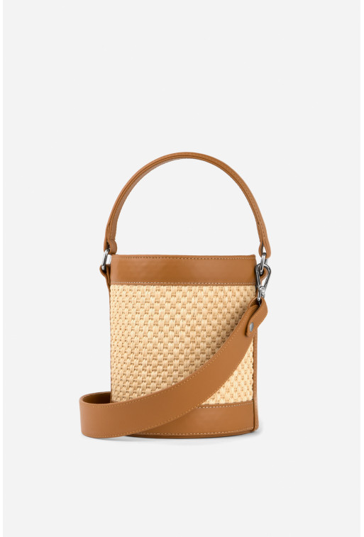 Bucket bag Straw  з гладкої карамельної шкіри /срібло/
