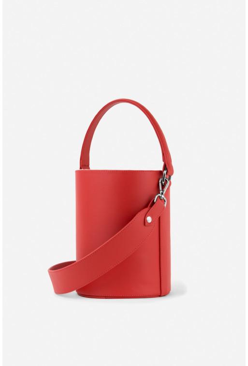 Bucket bag  з червоної гладкої шкіри /срібло/