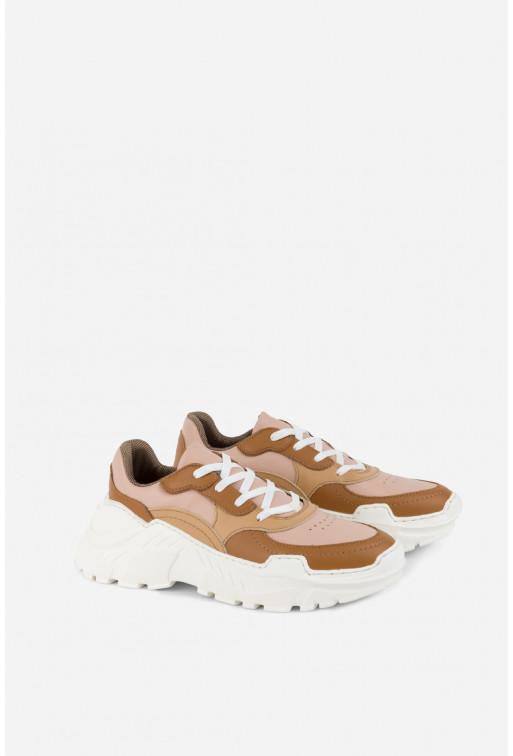 Кросівки бежеві комбіновані шкіряні