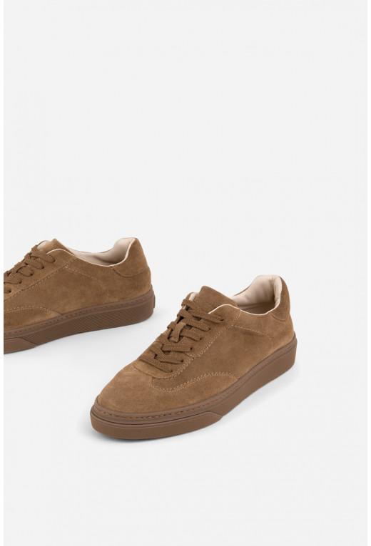 Кеди з коричневої  замшевої шкіри на шнурках
