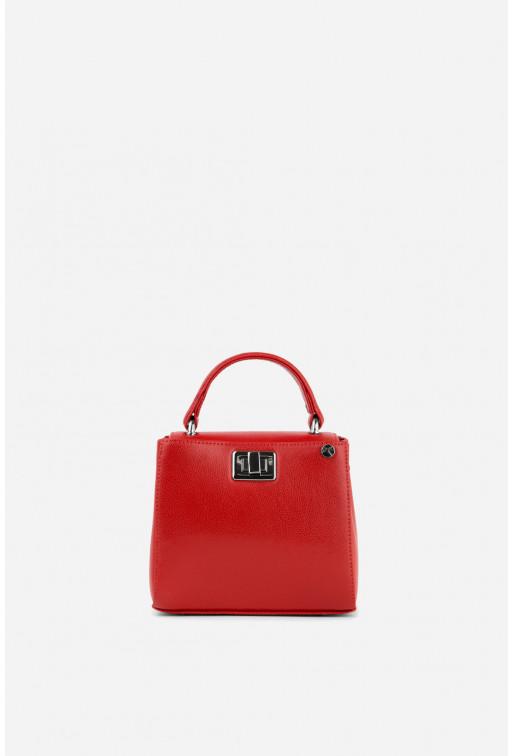 Портфель ERNA MICRO з червоної фактурної шкіри /срібло/