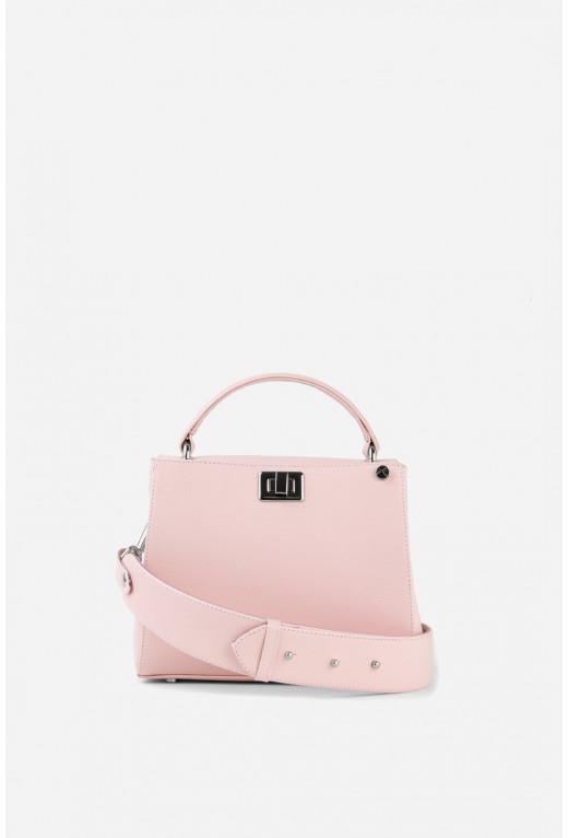 Портфель ERNA MINI  з блідо-рожевої фактурної шкіри /срібло/