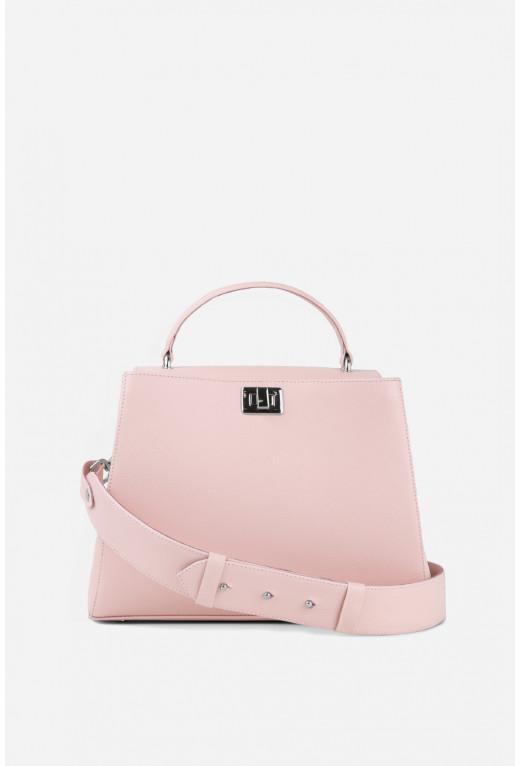 Портфель ERNA  з блідо-рожевої фактурної шкіри /срібло/