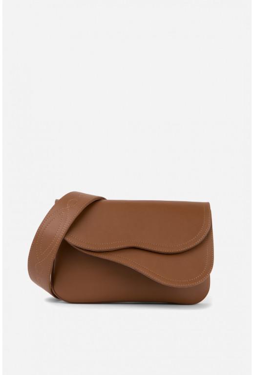 Кросбаді Saddle bag 2A  з коричневої гладкої шкіри /срібло/