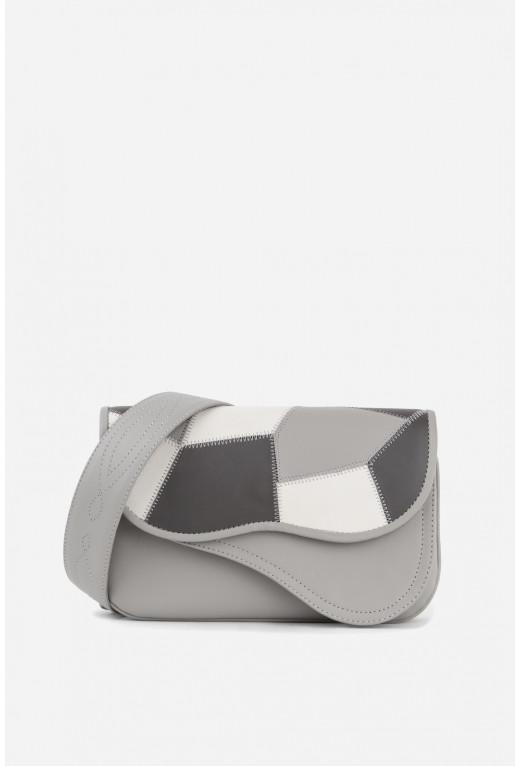 Кросбаді Saddle bag 2 cірий з шматочками шкіри /срібло/