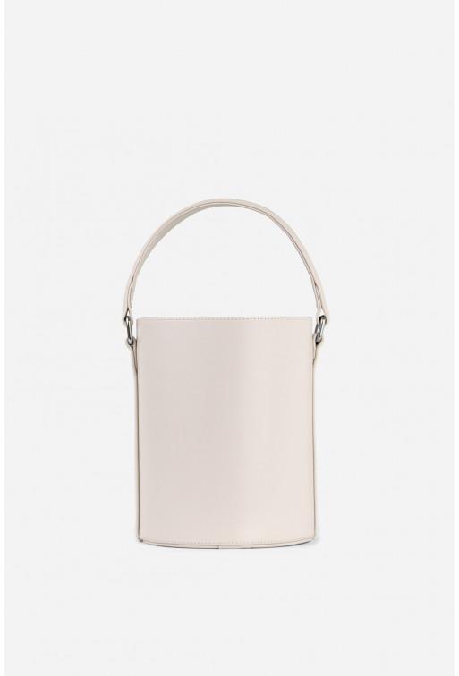 BUCKET BAG з світло-бежевої гладкої шкіри /срібло/