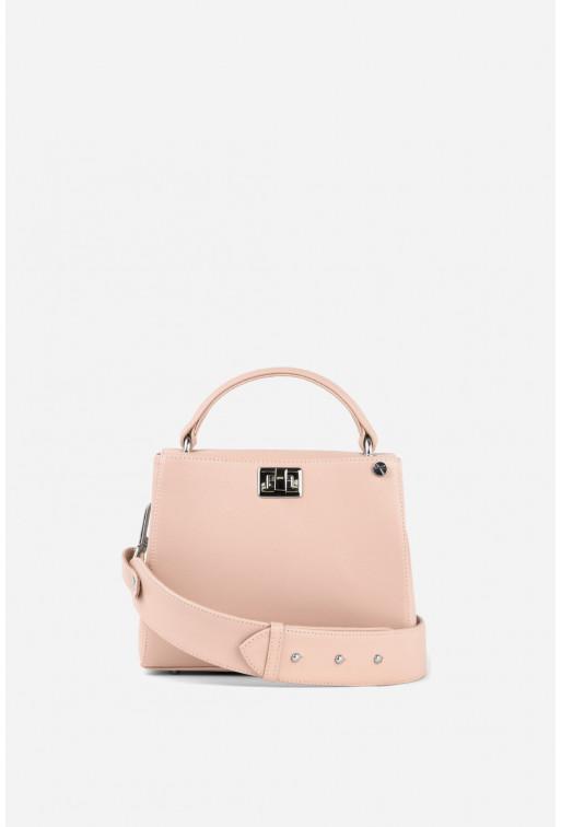 Портфель ERNA MINI  з світло-рожевої фактурної шкіри /срібло/