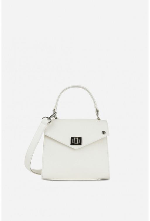 Портфель MITTE MINI  з білої фактурної шкіри /срібло/