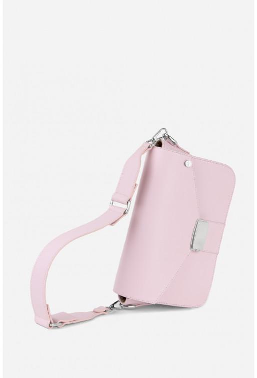 Кросбаді ODRI  з рожевої фактурної шкіри /срібло/