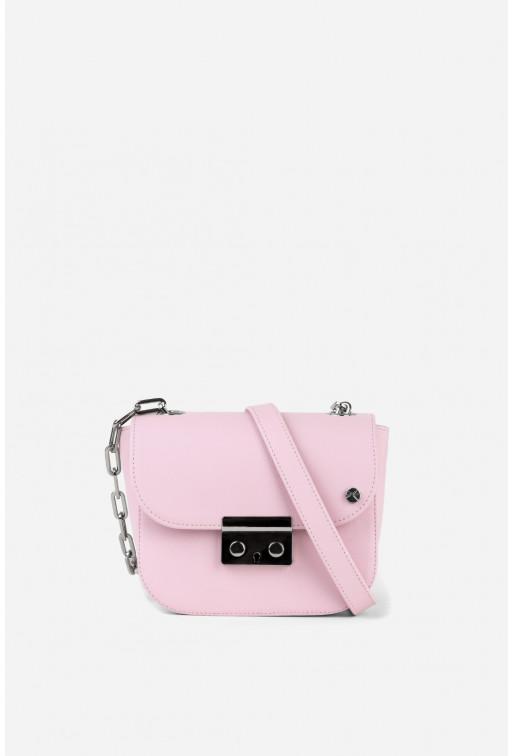 Кросбаді LILU NC  з рожевої фактурної шкіри /срібло/