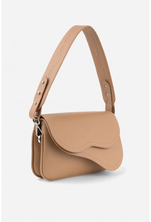 Кросбаді Saddle bag 2 з бежевої гладкої шкіри /срібло/
