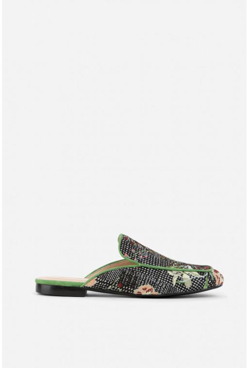 Мюлі чорно-зелені комбіновані з вишивкою